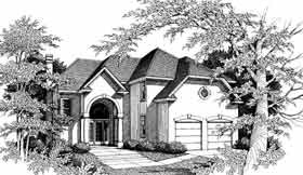 House Plan 93054 | European Mediterranean Style Plan with 2867 Sq Ft, 4 Bedrooms, 4 Bathrooms, 2 Car Garage Elevation