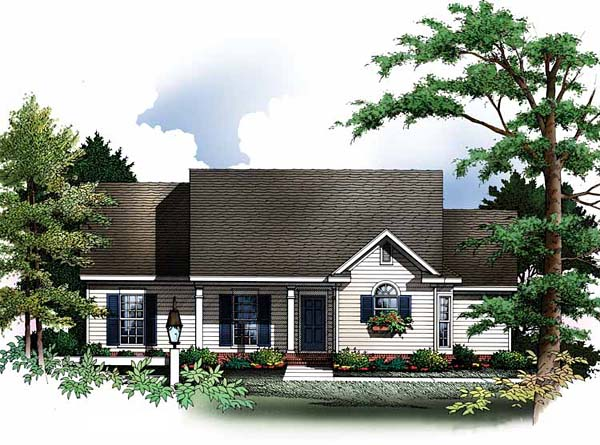 Cabin, Cape Cod House Plan 93073 with 3 Beds, 2 Baths, 2 Car Garage Front Elevation