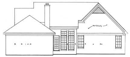 Cape Cod, Country House Plan 93078 with 3 Beds, 2 Baths, 2 Car Garage Rear Elevation