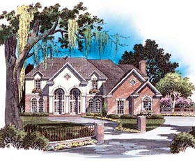 House Plan 93090 | European Style Plan with 3109 Sq Ft, 4 Bedrooms, 4 Bathrooms, 2 Car Garage Elevation