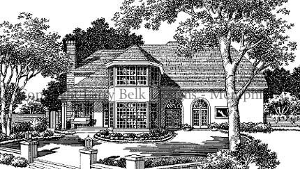 European House Plan 93090 Rear Elevation