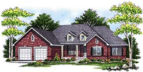 House Plan 93103 | Traditional Style House Plan with 2176 Sq Ft, 3 Bed, 2 Bath, 3 Car Garage Elevation