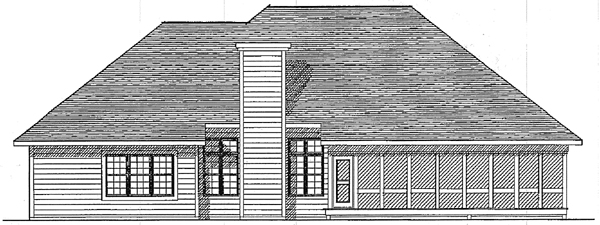 One-Story Traditional Rear Elevation of Plan 93103