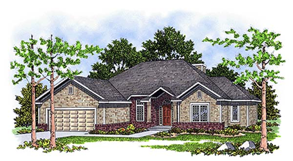 Bungalow European House Plan 93104 Elevation