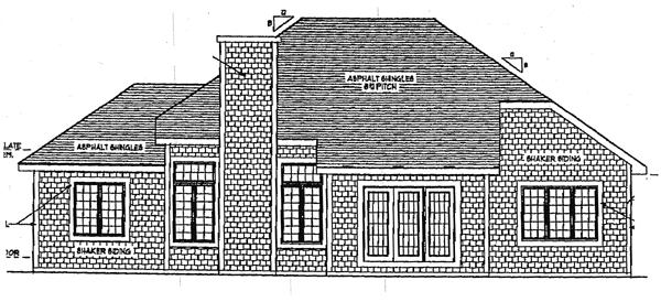 Bungalow European House Plan 93104 Rear Elevation