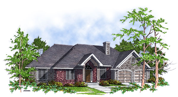 European House Plan 93107 Elevation