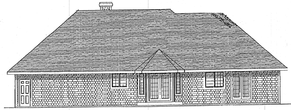 European House Plan 93107 Rear Elevation