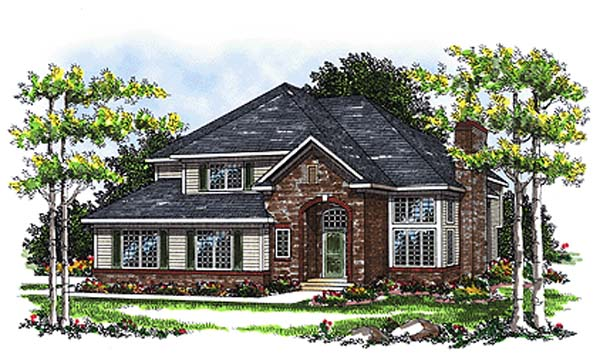House Plan 93109 | European Style Plan with 1781 Sq Ft, 3 Bedrooms, 3 Bathrooms, 2 Car Garage Elevation