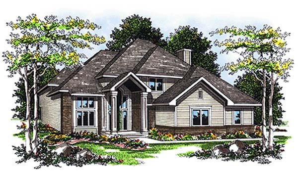 European House Plan 93110 with 4 Beds, 3 Baths, 2 Car Garage Elevation