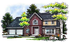 House Plan 93116 | Country European Traditional Style Plan with 3078 Sq Ft, 4 Bedrooms, 3 Bathrooms, 2 Car Garage Elevation