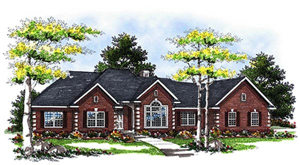 European House Plan 93119 Elevation