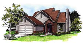 Traditional House Plan 93121 with 3 Beds, 3 Baths, 2 Car Garage Elevation