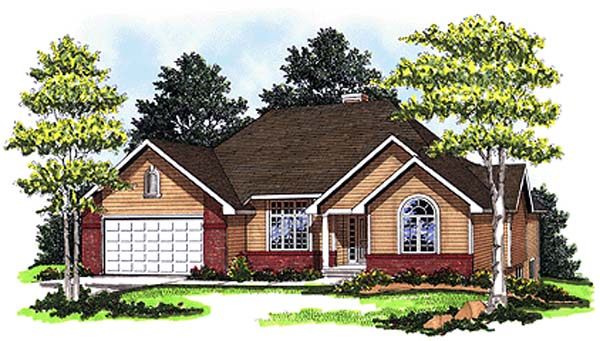 European House Plan 93125 with 3 Beds, 3 Baths, 2 Car Garage Elevation
