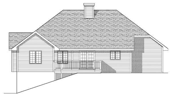 European House Plan 93125 with 3 Beds, 3 Baths, 2 Car Garage Rear Elevation