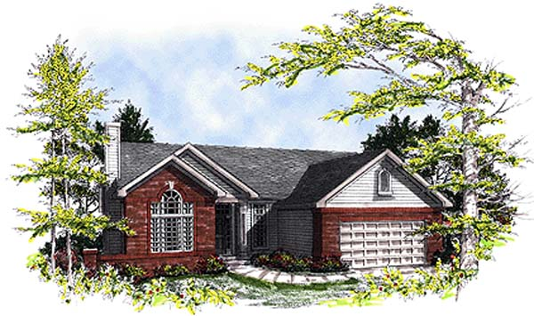 One-Story, Ranch House Plan 93126 with 2 Beds, 2 Baths, 2 Car Garage Elevation