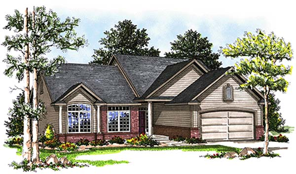 Country House Plan 93129 with 3 Beds, 2 Baths, 2 Car Garage Elevation