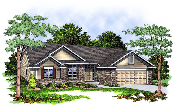 Ranch House Plan 93130 Elevation