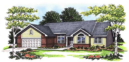 Ranch House Plan 93132 with 3 Beds, 2 Baths, 2 Car Garage Elevation