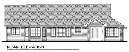 Ranch House Plan 93132 with 3 Beds, 2 Baths, 2 Car Garage Rear Elevation