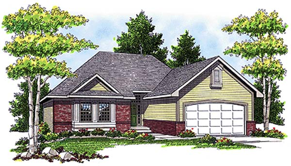 European House Plan 93134 with 3 Beds, 2 Baths, 2 Car Garage Elevation