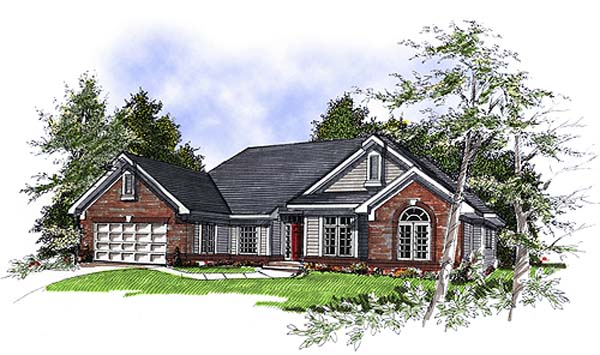 European House Plan 93135 with 3 Beds, 2 Baths, 2 Car Garage Elevation