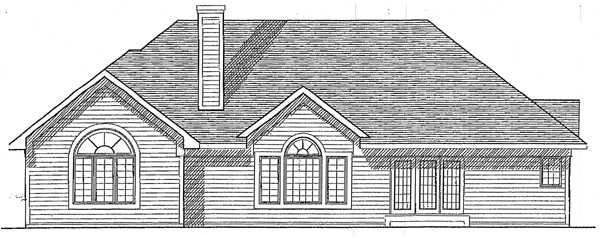 European House Plan 93135 with 3 Beds, 2 Baths, 2 Car Garage Rear Elevation