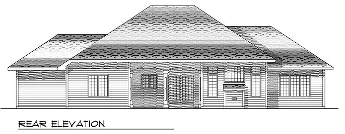 European House Plan 93140 Rear Elevation