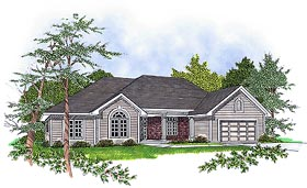 House Plan 93143 | European Style Plan with 1802 Sq Ft, 3 Bedrooms, 2 Bathrooms, 2 Car Garage Elevation