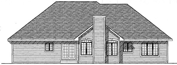 European House Plan 93143 Rear Elevation