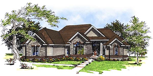 European House Plan 93145 Elevation