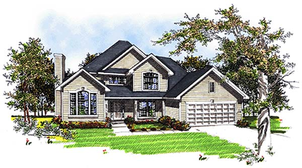 Country, European House Plan 93148 with 4 Beds, 3 Baths, 2 Car Garage Elevation