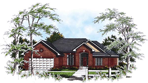 European House Plan 93151 with 3 Beds, 3 Baths, 2 Car Garage Elevation