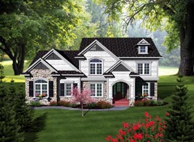 Traditional House Plan 93156 with 4 Beds, 4 Baths, 3 Car Garage Elevation