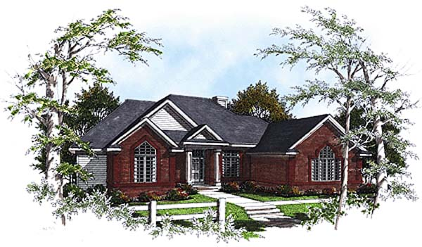 European, One-Story, Ranch House Plan 93158 with 3 Beds, 2 Baths, 3 Car Garage Elevation