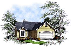 Ranch House Plan 93160 with 3 Beds, 2 Baths, 2 Car Garage Elevation