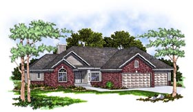 House Plan 93176 | European Ranch Style Plan with 1795 Sq Ft, 3 Bedrooms, 2 Bathrooms, 3 Car Garage Elevation