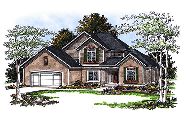 European House Plan 93177 Elevation