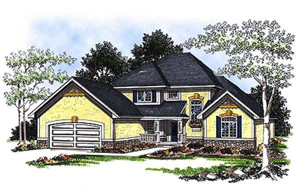 European House Plan 93180 Elevation