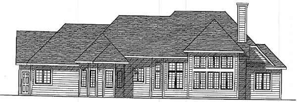 European House Plan 93183 Rear Elevation