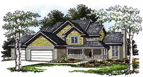 House Plan 93184 | Country Style Plan with 2367 Sq Ft, 4 Bedrooms, 3 Bathrooms, 3 Car Garage Elevation