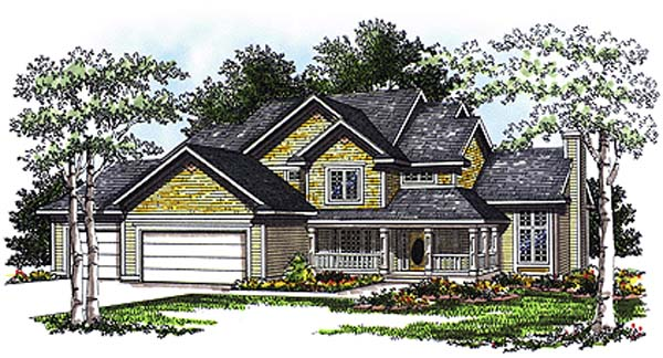 Country House Plan 93184 with 4 Beds, 3 Baths, 3 Car Garage Elevation