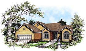 House Plan 93187 | Ranch Style Plan with 1730 Sq Ft, 3 Bedrooms, 2 Bathrooms, 2 Car Garage Elevation