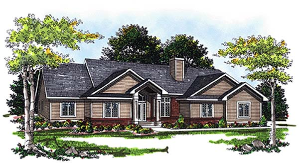 Colonial, One-Story, Ranch House Plan 93192 with 3 Beds, 3 Baths, 2 Car Garage Elevation