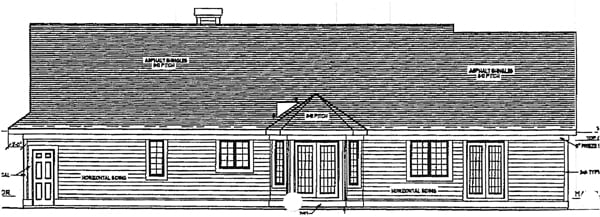 Colonial, One-Story, Ranch House Plan 93192 with 3 Beds, 3 Baths, 2 Car Garage Rear Elevation