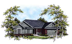 House Plan 93198 | European Ranch Style Plan with 1849 Sq Ft, 3 Bedrooms, 2 Bathrooms, 2 Car Garage Elevation