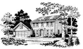 Colonial Country Southwest Elevation of Plan 93306