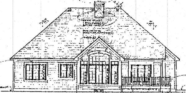 European House Plan 93311 with 3 Beds, 3 Baths, 2 Car Garage Rear Elevation