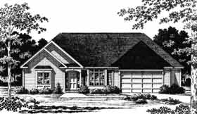 European, Traditional House Plan 93350 with 3 Beds, 2 Baths, 2 Car Garage Elevation