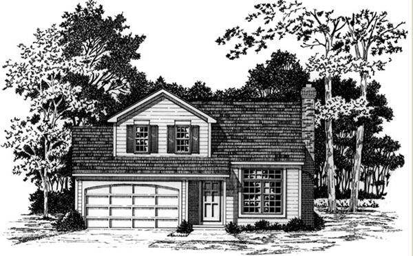 Country, Traditional House Plan 93359 with 3 Beds, 2 Baths, 2 Car Garage Elevation