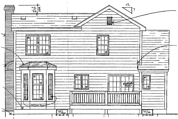 Country, Traditional House Plan 93359 with 3 Beds, 2 Baths, 2 Car Garage Rear Elevation
